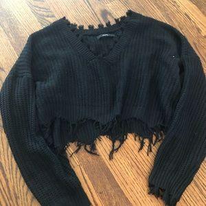 Frayed crop sweater